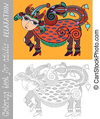 coloring book page for adults with fantastic creature -...
