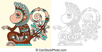 coloring book page for adults with unusual fantastic ...