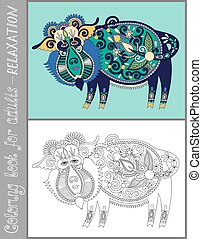 coloring book page for adults with unusual fantastic creature in
