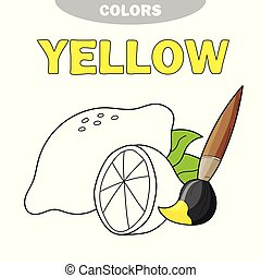 Coloring book page for preschool children with outlines of lemon - yellow color