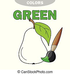 Coloring book page for preschool children with outlines of pear