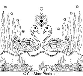 Coloring book page of swan couple for adult.doodle style.vector illustration.handdrawn.