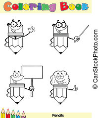 Coloring Book Page Pencil Cartoon Character