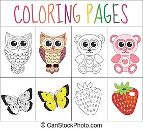 Coloring book page set. Animals collection. Sketch and color...