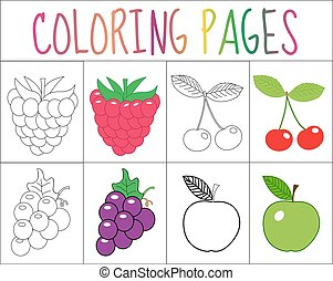 Coloring book, page set. Fruits collection. Sketch and color...