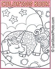 Sleeping little unicorn from fairy tale on the moon.