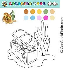 coloring book page template open chest with gold, gems, color samples. vector illustraton