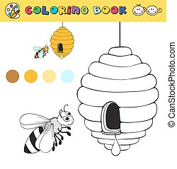coloring book page template with beehive and bee, color samples. vector illustraton