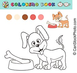 coloring book page template with dog and bone, color samples. vector illustraton