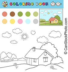 Coloring Book Page Template With House On Countryside Landscape Color Samples Vector Illustraton
