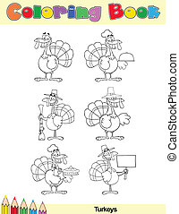 Coloring Book Page Turkey Character - Coloring Book Page...