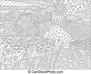 Coloring book page with beautiful landscape