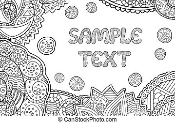 Coloring book page with copy space sample text