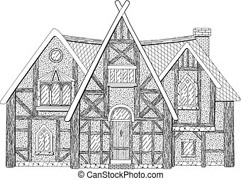 Coloring book page with detailed medieval building