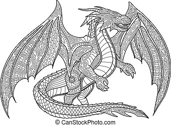 Coloring book page with dragon on white background