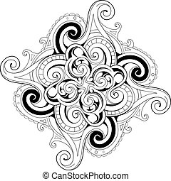 Coloring book page with ethnic ornaments