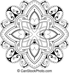 Coloring book page with ethnic ornaments - Decorative...
