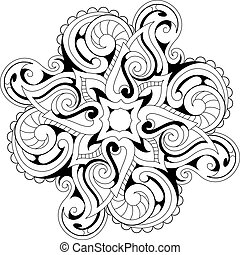 Coloring book page with ethnic ornaments - Symmetry flower...