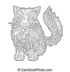 Coloring book page with funny cartoon cat