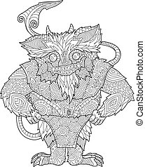 Coloring book page with funny cartoon monster