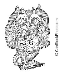 Coloring book page with funny cartoon shy monster
