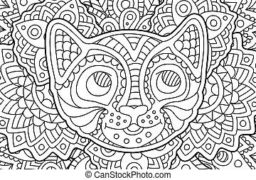 Coloring book page with funny smiling kitten