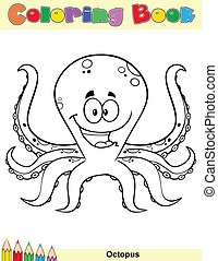 Coloring Book Page With Happy Octopus Cartoon Mascot Character