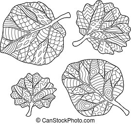 Coloring Book page with leaves