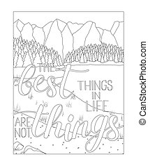 Coloring book page with mountain and lake scenery, Adult...