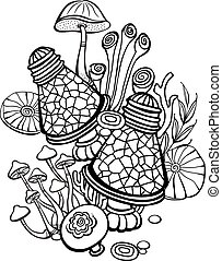 Coloring book page with mushrooms