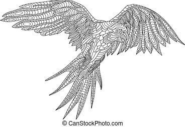 coloring book page with parrot