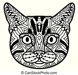 Coloring book page with pattern cat