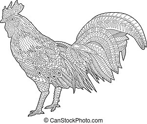 Coloring book page with rooster