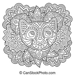Coloring book page with stylized cat face