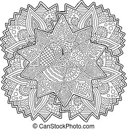 Coloring book page with stylized shape of the star