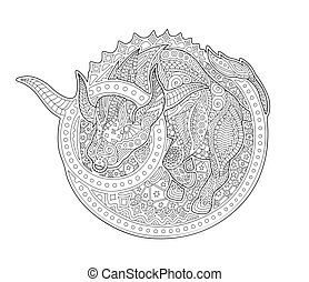Coloring book page with zodiac sign taurus