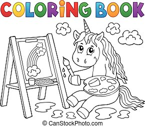 Coloring book painting unicorn theme 2