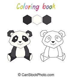 Coloring book panda kids layout for game