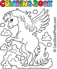 Coloring book pegasus theme 1 - vector illustration.