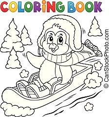 Coloring book penguin on bobsleigh 1