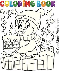 Coloring book penguin with cake theme 2