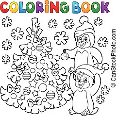 Coloring book penguins by Christmas tree