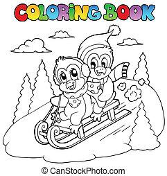 Coloring book penguins sledging - vector illustration.