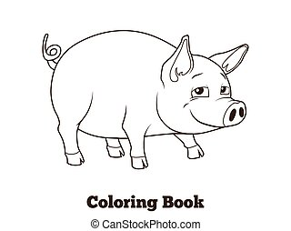 Coloring book pig cartoon educational illustration