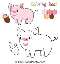 Coloring book pig kids layout for game