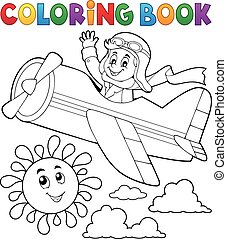 Coloring book pilot in retro airplane