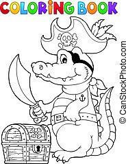 Coloring book pirate crocodile - eps10 vector illustration.