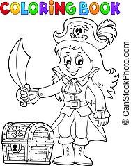 Coloring book pirate girl theme 1