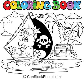 Coloring book pirate parrot theme 2 - vector illustration.