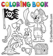 Coloring book pirate thematics 1 - eps10 vector...